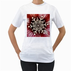 Background Star Red Abstract Women s T Shirt (white)