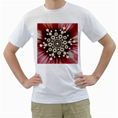 Background Star Red Abstract Men s T Shirt (white)