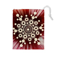 Background Star Red Abstract Drawstring Pouches (large)