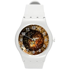 Christmas Bauble Ball About Star Round Plastic Sport Watch (m)