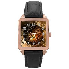 Christmas Bauble Ball About Star Rose Gold Leather Watch