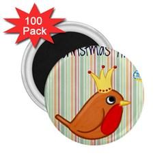 Bird Christmas Card Blue Modern 2 25  Magnets (100 Pack)