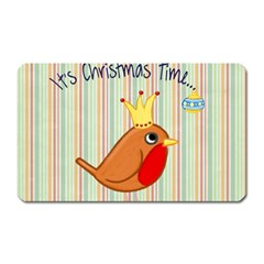 Bird Christmas Card Blue Modern Magnet (rectangular)