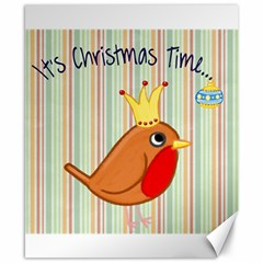 Bird Christmas Card Blue Modern Canvas 8  X 10