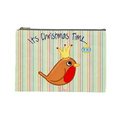 Bird Christmas Card Blue Modern Cosmetic Bag (large)