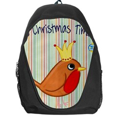 Bird Christmas Card Blue Modern Backpack Bag