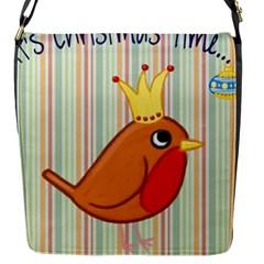 Bird Christmas Card Blue Modern Flap Messenger Bag (s)