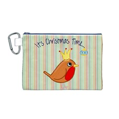 Bird Christmas Card Blue Modern Canvas Cosmetic Bag (m)