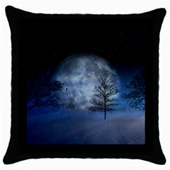 Winter Wintry Moon Christmas Snow Throw Pillow Case (black)
