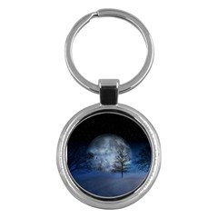 Winter Wintry Moon Christmas Snow Key Chains (round)