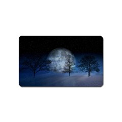 Winter Wintry Moon Christmas Snow Magnet (name Card)