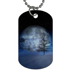 Winter Wintry Moon Christmas Snow Dog Tag (two Sides)