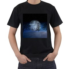 Winter Wintry Moon Christmas Snow Men s T Shirt (black) (two Sided)