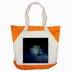 Winter Wintry Moon Christmas Snow Accent Tote Bag