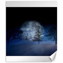 Winter Wintry Moon Christmas Snow Canvas 8  X 10