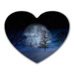 Winter Wintry Moon Christmas Snow Heart Mousepads
