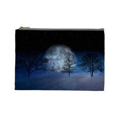 Winter Wintry Moon Christmas Snow Cosmetic Bag (large)