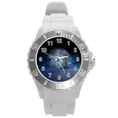 Winter Wintry Moon Christmas Snow Round Plastic Sport Watch (l)