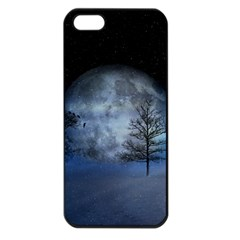 Winter Wintry Moon Christmas Snow Apple Iphone 5 Seamless Case (black)
