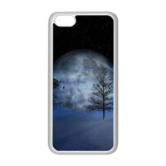 Winter Wintry Moon Christmas Snow Apple Iphone 5c Seamless Case (white)