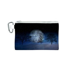 Winter Wintry Moon Christmas Snow Canvas Cosmetic Bag (s)