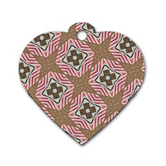Pattern Texture Moroccan Print Dog Tag Heart (one Side)