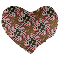 Pattern Texture Moroccan Print Large 19  Premium Heart Shape Cushions