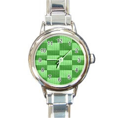 Wool Ribbed Texture Green Shades Round Italian Charm Watch