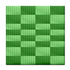 Wool Ribbed Texture Green Shades Tile Coasters