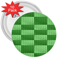 Wool Ribbed Texture Green Shades 3  Buttons (10 Pack)