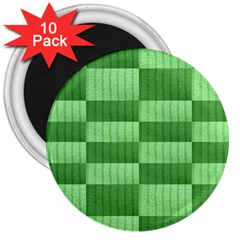 Wool Ribbed Texture Green Shades 3  Magnets (10 Pack)