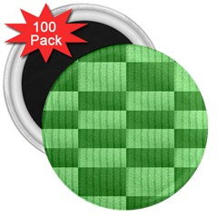 Wool Ribbed Texture Green Shades 3  Magnets (100 Pack)