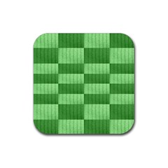 Wool Ribbed Texture Green Shades Rubber Square Coaster (4 Pack)
