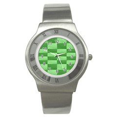 Wool Ribbed Texture Green Shades Stainless Steel Watch