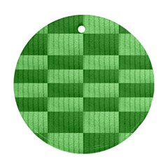 Wool Ribbed Texture Green Shades Round Ornament (two Sides)