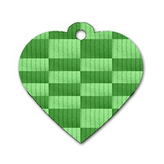 Wool Ribbed Texture Green Shades Dog Tag Heart (two Sides)