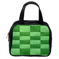 Wool Ribbed Texture Green Shades Classic Handbags (one Side)