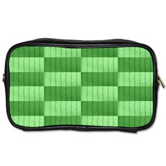 Wool Ribbed Texture Green Shades Toiletries Bags