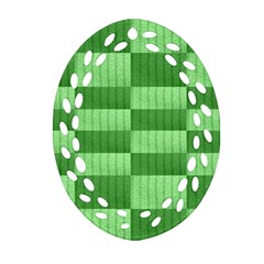 Wool Ribbed Texture Green Shades Oval Filigree Ornament (two Sides)