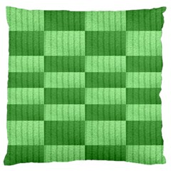 Wool Ribbed Texture Green Shades Large Flano Cushion Case (one Side)
