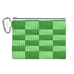 Wool Ribbed Texture Green Shades Canvas Cosmetic Bag (l)