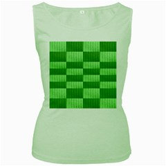 Wool Ribbed Texture Green Shades Women s Green Tank Top