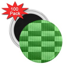 Wool Ribbed Texture Green Shades 2 25  Magnets (100 Pack)