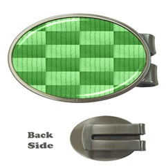 Wool Ribbed Texture Green Shades Money Clips (oval)