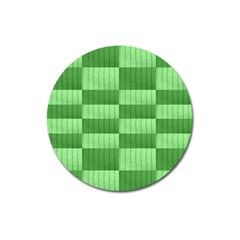 Wool Ribbed Texture Green Shades Magnet 3  (round)