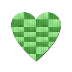 Wool Ribbed Texture Green Shades Heart Magnet