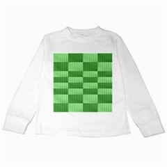 Wool Ribbed Texture Green Shades Kids Long Sleeve T Shirts