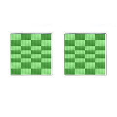 Wool Ribbed Texture Green Shades Cufflinks (square)
