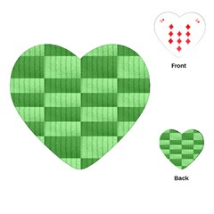 Wool Ribbed Texture Green Shades Playing Cards (heart)