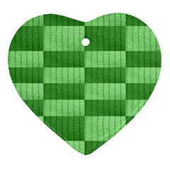 Wool Ribbed Texture Green Shades Heart Ornament (two Sides)
